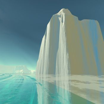 An iceberg is frozen in the clear ice of the ocean.