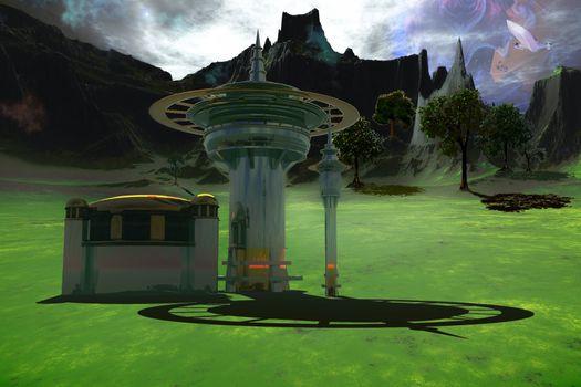 A spacecraft flys over an alien world.