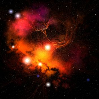 Cosmic space image of a nebula in the universe.