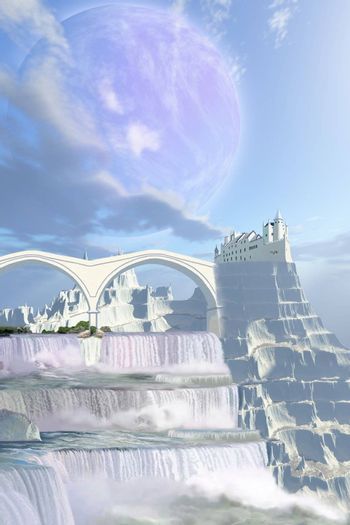 A fairy tale castle on this beautiful alien planet with gorgeous waterfalls.