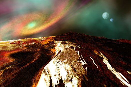 Cosmic landscape of an alien planet.