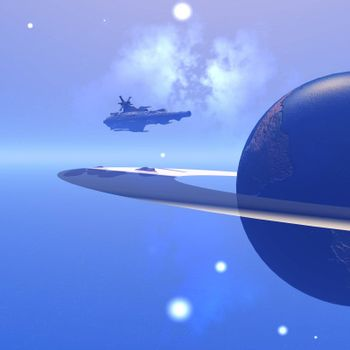 A spacecraft nears a planet to steal resources.
