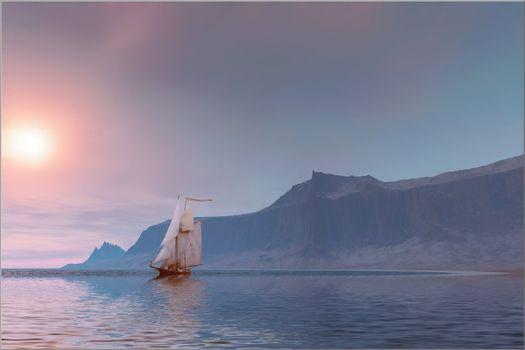 Seascape of a sailing vessel near the coast.