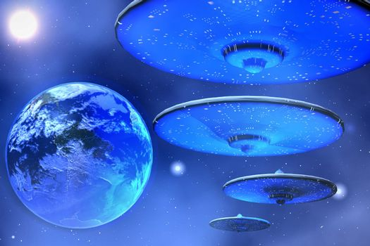 Flying saucers come to visit Earth.