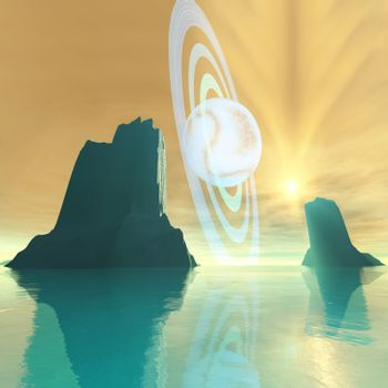 A striking sunburst on this cosmic seascape.