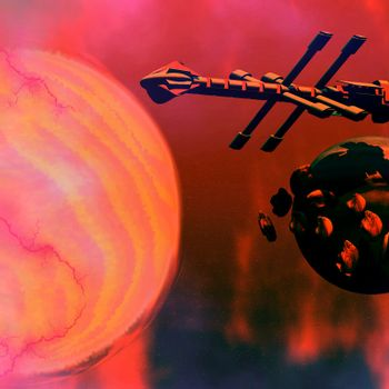 A starship near asteroids and a sun.