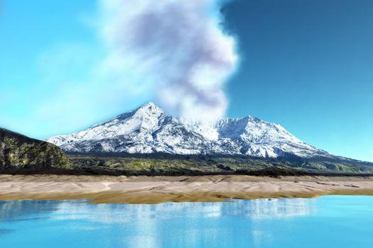 Mount Saint Helens simmers after the volcanic eruption.