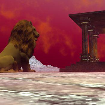 Fantasy world of a lion.