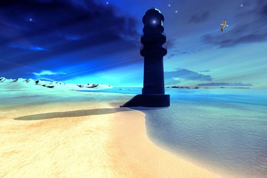 A lighthouse stands guard at night.