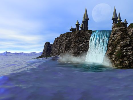 A beautiful waterfall meets the deep blue ocean in this fantasy castle image.