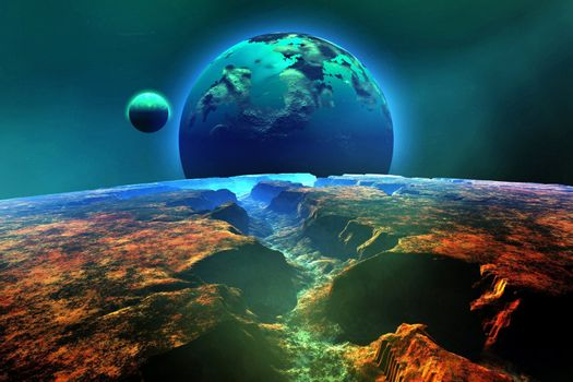 Cosmic landscape on another planet.