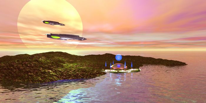 A futuristic world on another planet.