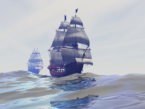Two tall sailing ships ply the high seas.