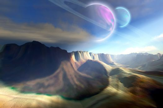 Mountainous landscape on a futuristic world.