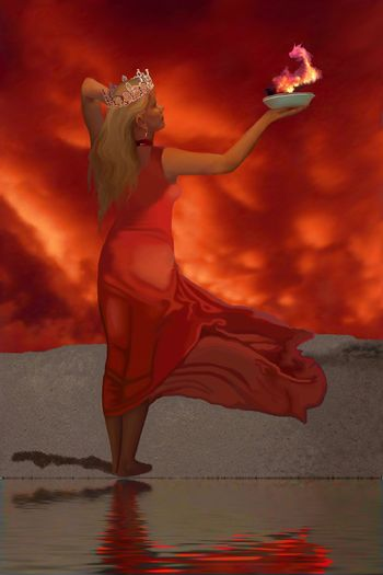 The goddess of fire and the fire dragon.