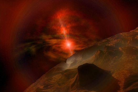 Supernova lights this alien planet.