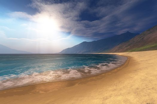Blue seas and radient sun shine in this seascape.