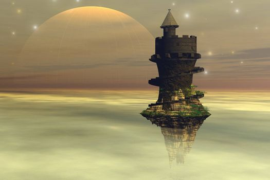 A fantasy castle hovers in the cloud layers of a planet.