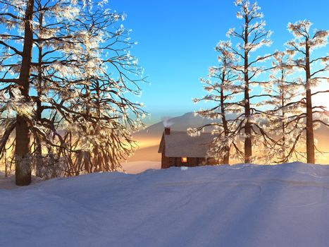 A winter cabin offers warmth and comfort.