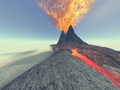 A volcano comes to life with fire, smoke and lava.