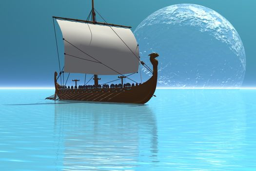 Beautiful glistening waters of the ocean show off this viking ship at night.