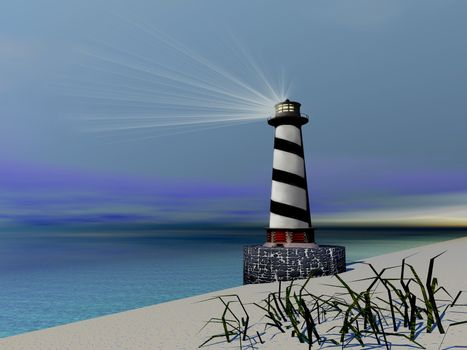 A lighthouse sends out a light to warn vessels.