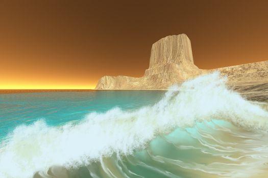 Ocean waves break at dawn on this coastline.