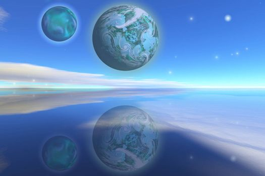 Nearby planets hover over the ocean on this world.