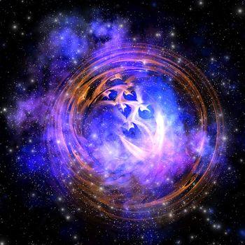 Leftover remnants from a supernova explosion.
