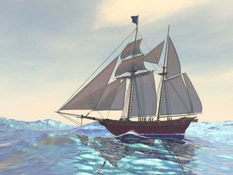 A ship sails in blue ocean seas on its first voyage.