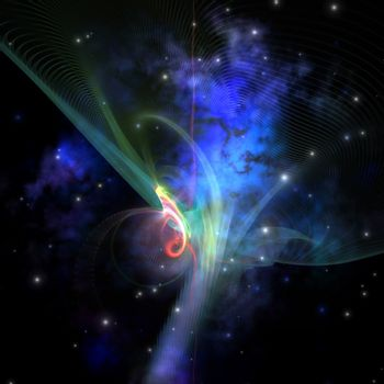 Cosmic strands of gaseous filament out in space.
