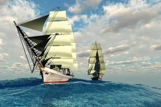Two tall clipper ships navigate the rough waters of the open sea.