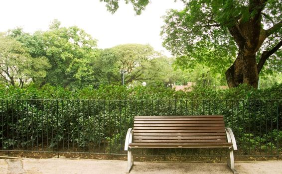 Brown bench with nobody in the park