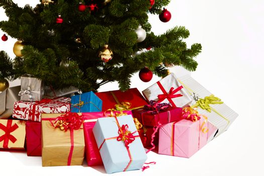 Christmas - Presents under a tree on white