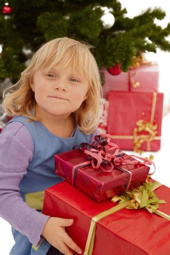 Christmas - Little girl with lots of presents