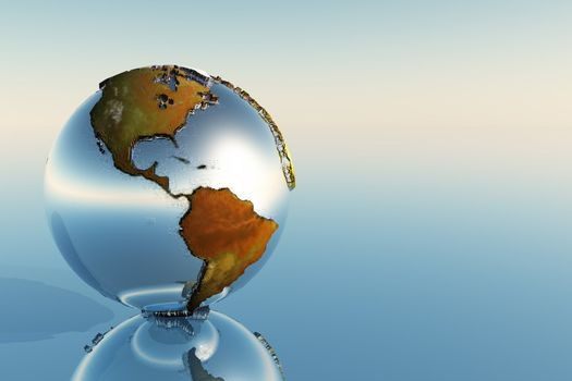 A sphere holding North and South America reflects on a mirror.