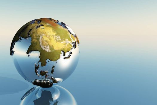 A world globe showing the continents of India, Asia and Japan.