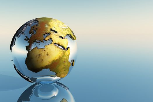 A world globe showing the continents of Europe, Middle East and Africa.