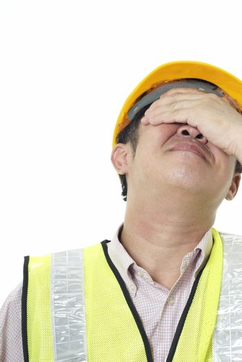 Asian construction contractor with regret