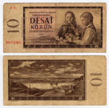 high resolution vintage czechoslovakian banknote from 1960
