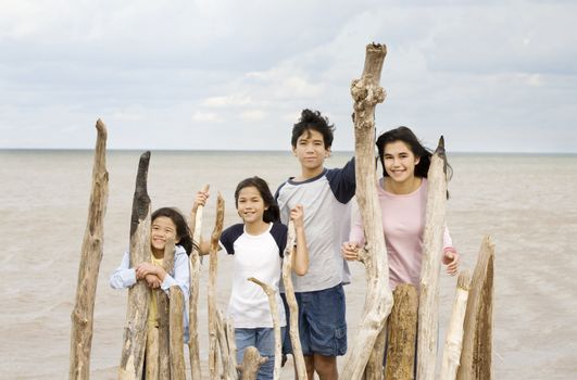 Four siblings by the lakeshore in summer, standing against driftwood fencing