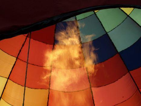 Hot air balloon festival in rural North Carolina.Firing up the air.