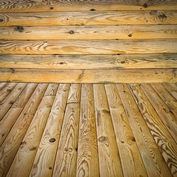 The abstract background, pine floor and wall
