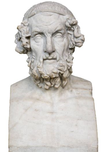 White marble statue of the greek poet Homer