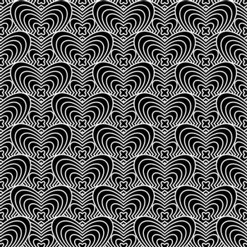 Black and white abstract background with seamlesss repeat design