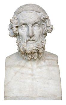 White marble bust of the greek poet Homer