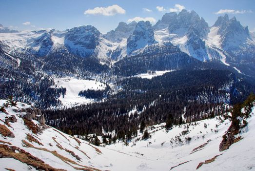 Wonderul view of Dolomites Mountains in Italy