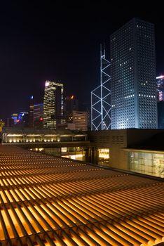 night scenes of skyscrapers