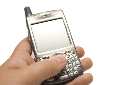 A hand holding a smartphone with QWERTY thumbboard