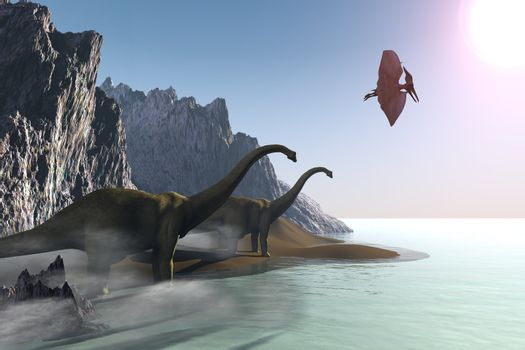 Two dinosaurs come to the shore for a drink of water. Dinosaurs in this image are Diplodocus and Pterodactyl.